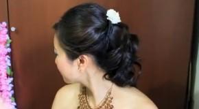 Прическа невесты на короткие и средние волосы.