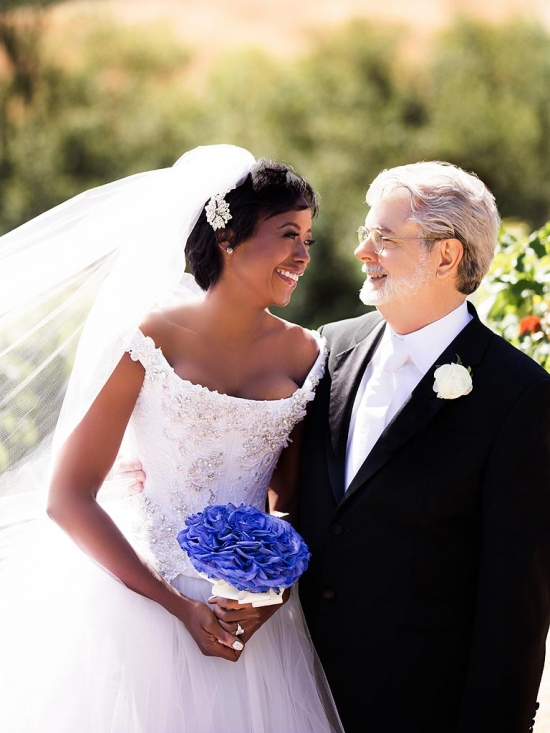 Джордж Лукас и Мелоди Хобсон: первое свадебное фото