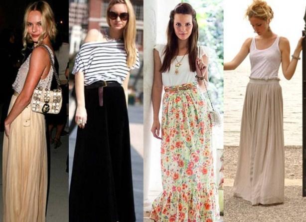 С чем надеть длинную юбку!
