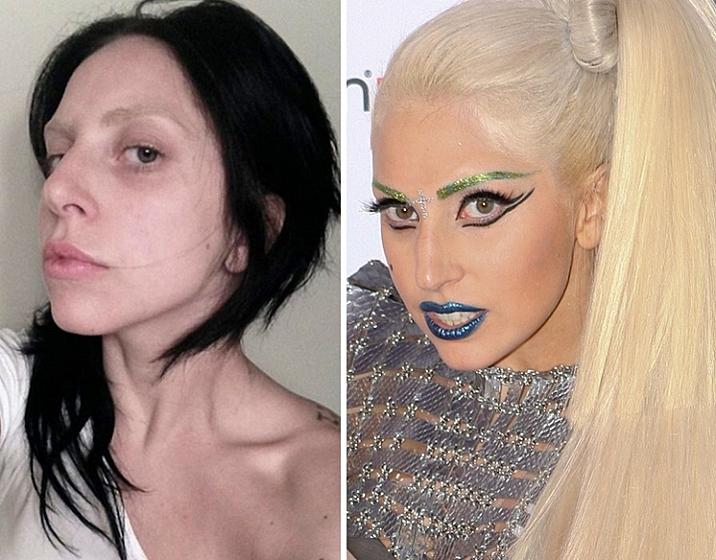 Леди Гага: без макияжа VS в образе!