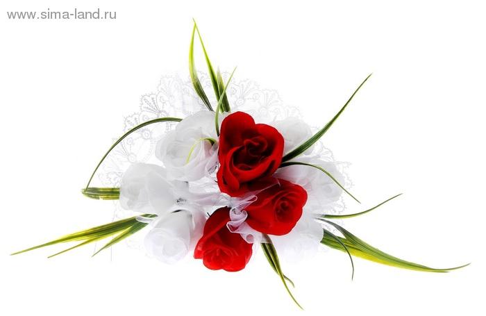 Букет-дублер невесты, бело-красные розы с зелеными листочками, 9 шт