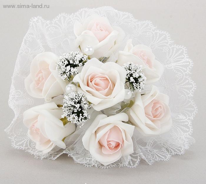 Букет-дублер невесты, бело-розовые цветы 7 шт