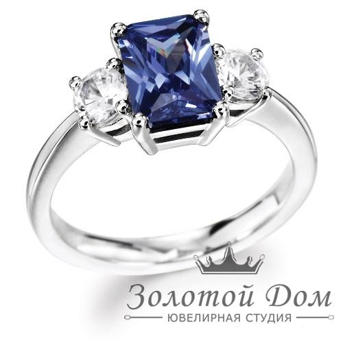 Кольцо для помолвки с бриллиантами и сапфиром