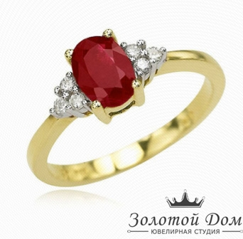 Кольцо для помолвки с корунд рубином
