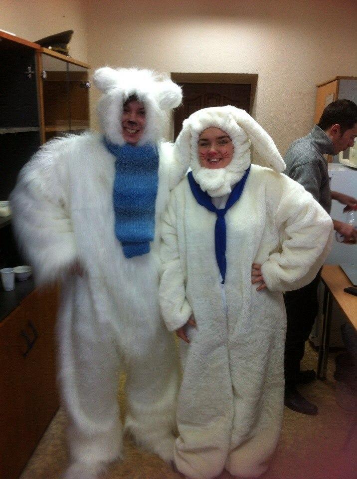 Аренда костюм меховой Зайчик белый
